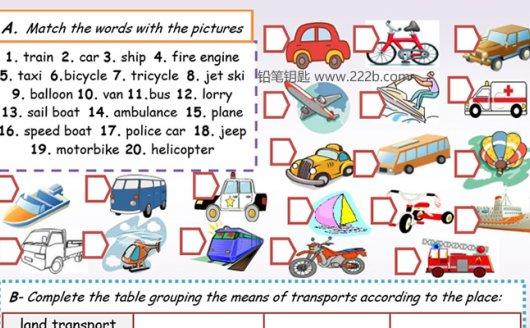 《20份交通工具主题词汇语法作业纸》英文练习册超清原生PDF 百度云网盘下载