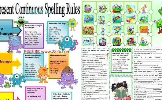 《12份现在进行时(三)语法作业纸》专项英文练习PDF 百度云网盘下载