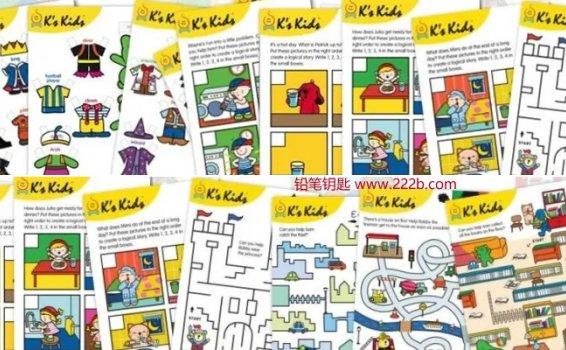 《K's Kids主题英语启蒙必备教材》涂色迷宫连连看PDF 百度云网盘下载