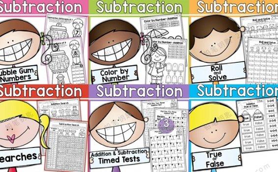 《Addition and Subtraction》20以内加减法英文练习作业纸PDF 百度云网盘下载