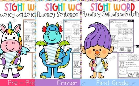 《Sight Word Fluency Sentence Scramble》全三册高频词句子组合练习 百度云网盘下载