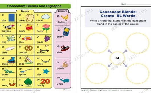 《Vocabulary Phonics》五类自然拼读词汇练习作业纸PDF 百度云网盘下载