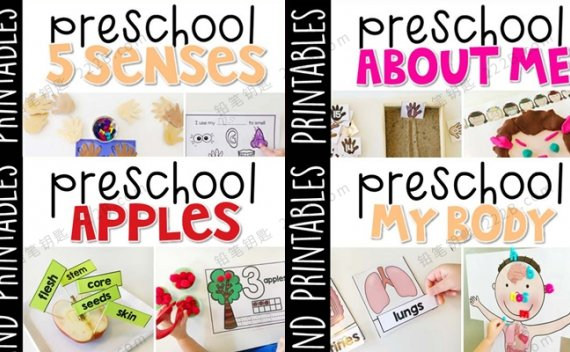 《Preschool My Body相关资源包》四册身体五官认知作业纸 百度云网盘下载