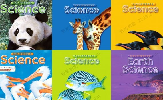 《California Science》G1-G6加州科学英文教材闪卡读本PDF 百度云网盘下载