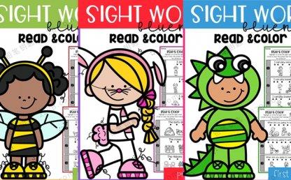 《Sight Word Fluency Read and Color》全3册高频词阅读着色PDF 百度云网盘下载