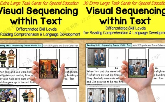 《visual sequencing within text 1&2》英语启蒙排序练习册 百度云网盘下载