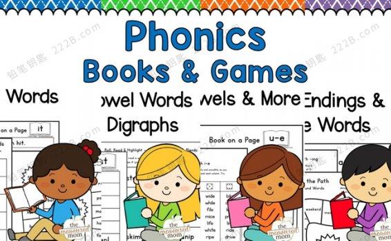 《Phonics Books & Games》全四册自然拼读英文互动书PDF 百度云网盘下载