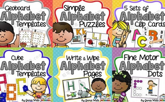 《Alphabet Centers》六册英文字母闪卡启蒙素材包 百度云网盘下载