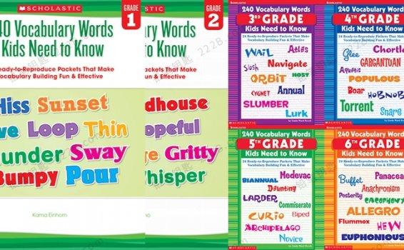 《240 Vocabulary Words Kids Need to Know》G1-G6词汇练习册PDF 百度云网盘下载